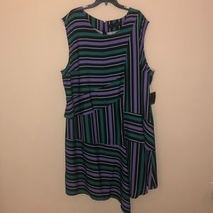 Eloquii Silk Striped Asymmetrical Dress SZ 28 NWT